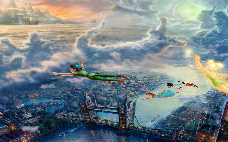 download disney peterpan flying over london wallpaper