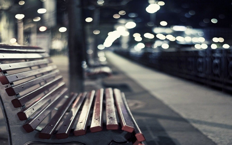 Download Street Bench At Night Wallpaper - GetWalls.io